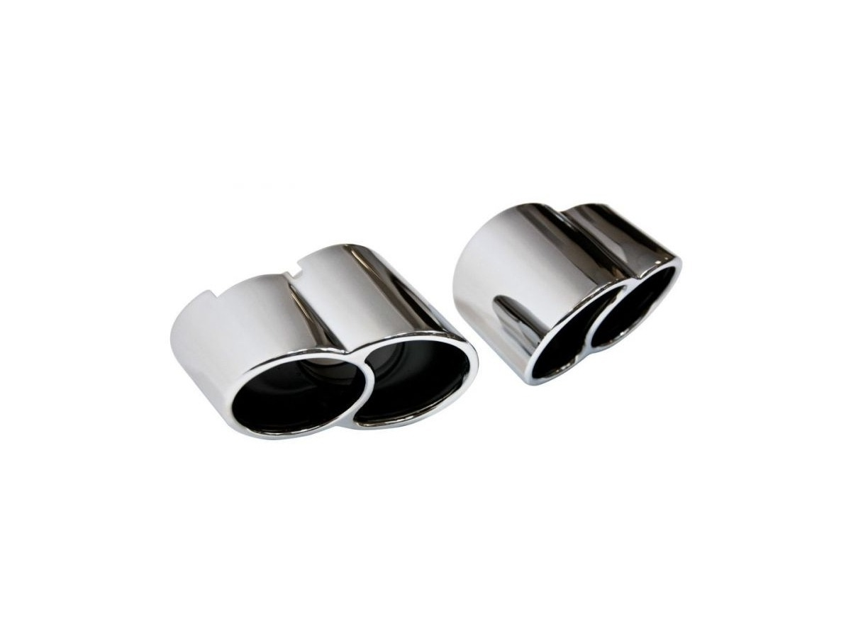Highly polished stainless steel tailpipes for Porsche 996 Turbo in 996 GT2 look