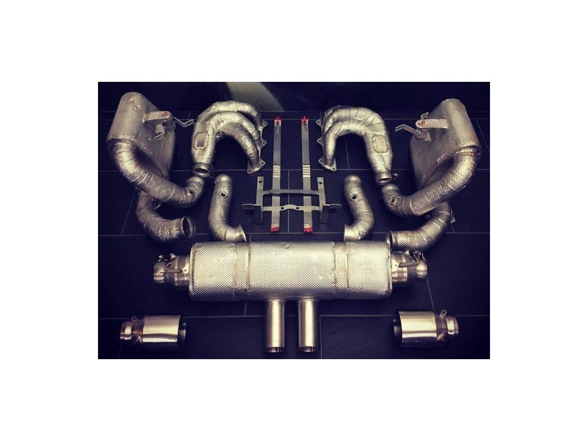 991 GT3 Cup Rennauspuff mit Fächerkrümmern und Hitzeschutz