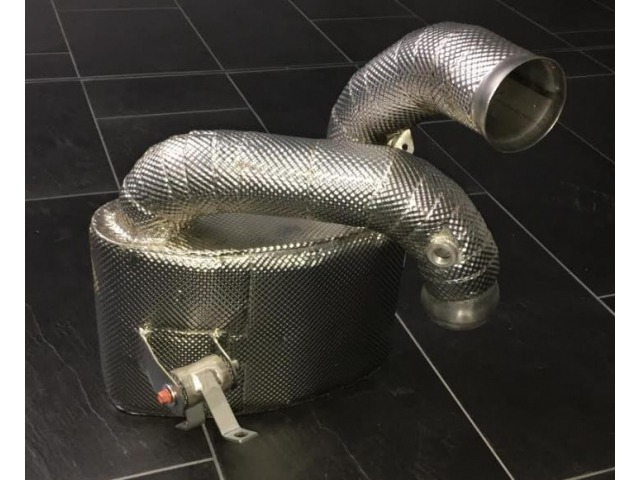 997 GT3 Cup front silencer for Porsche racing cars with thermal insulation