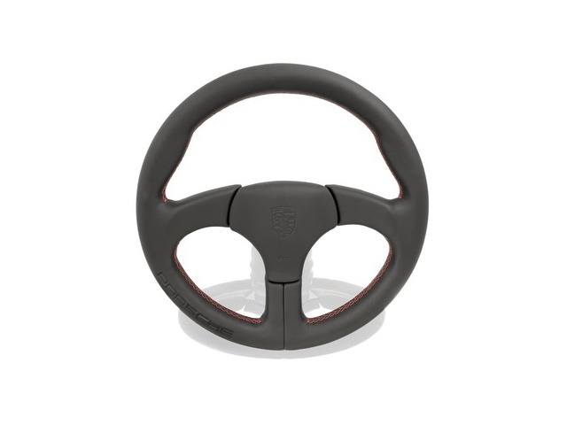 911 - 959 sports steering wheel black red stitching and Porsche lettering for Porsche